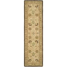 Safavieh Anatolia Collection Handmade Hand-Spun Wool Area Runner, 2-Feet 3-Inch by 12-Feet, Ivory/Brown by Safavieh. $243.00. Each rug is handmade with premium, hand-spun wool. This traditional, Oushak style rug will give your room an elegant accent. The handmade, hand-tufted construction adds durability to this rug, ensuring it will be a favorite for many years. This runner measures 2'3 x 12'. 100% wool. This rug features an ivory background and brown border and d...