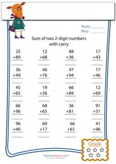 Two Digit Addition With Carryover  #twodigit #addition #carryover #preschool #firstgrade