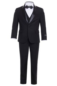 """Reno"" Kids Black Tuxedo 5-Piece Set – LittleTuxedos.com Black Bow Tie, Black Tuxedo, Suit Jacket, Vest, Brand New, Blazer, Kids, Pants, Jackets"