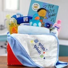 Splash splash, it's time for baby boyto take a bath. This basket is filled with Johnson