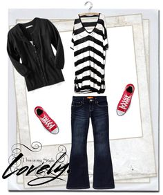 """""""My Outfit 3""""   ■ Black & White Striped Top   ■ Dark Blue Flare Jeans   ■ Black Cardigan   ■ Red Converse Shoes"""