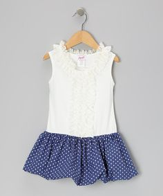 Take a look at this Navy Polka Dot Bubble Dress - Toddler & Girls by Jupon on #zulily today!