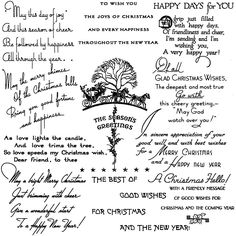 """Amazon.com: Christmas Poems // Clear stamps pack (7""""x7"""") FLONZ"""