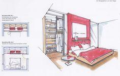 Wardrobe with sliding doors behind bed
