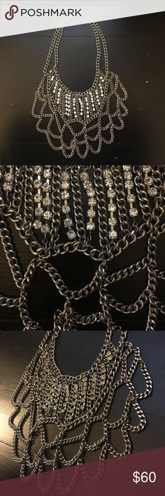 Silver chain and rhinestone statement necklace Vintage multi strand chain necklace with rhinestones. Excellent Condition. Vintage Jewelry Necklaces