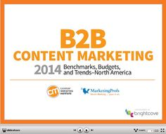Key findings from Content Marketing Institute and MarketingProfs' fourth annual report; Content Marketing: 2014 Benchmarks, Budgets, and Trends—North America report. Marketing Report, Content Marketing Strategy, The Marketing, Inbound Marketing, Internet Marketing, Online Marketing, Social Media Marketing, Digital Marketing, Marketing Technology