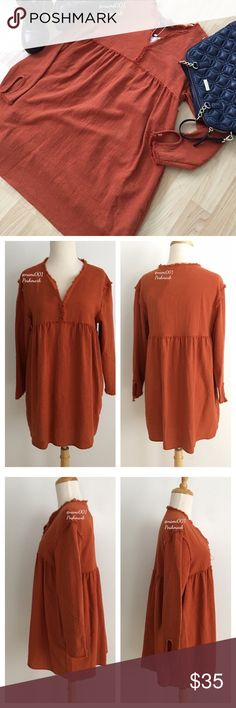 """Zara Babydoll Dress Pockets Rusty Copper NWT This adorable rusty copper babydoll dress from Zara is perfect for the upcoming season. High waisted for a slimming cute girly girl look. Pockets on dresses are always so chic and this has pockets. Key hole sleeves. Measures: 19"""" underarm to underarm, 29"""" length and is just the perfect length to wear with ankle booties or over the knee boots. Made of 73% cotton, 24% polyester & 3% other fibers. Step out in fashionista style. Super adorable and…"""