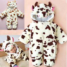 Baby Kid Toddler Cow Animal Grow Onesie Bodysuit Jumpsuit Romper Outfit Snowsuit