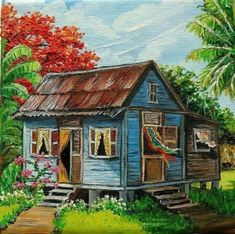 pictures of puerto rico old houses Caribbean Homes, Caribbean Art, Case Creole, Puerto Rico History, Tropical Art, House Painting, Home Art, Canvas Art, Landscaping