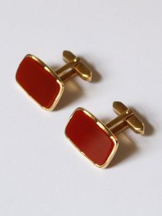 Gold Cuff Links Round Red Cuff Links Red Enamel Cuff Links Red Cuff Links Father/'s Day Gift Prom Cuff Links Vintage Cuff Links