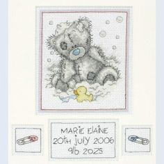 Bath Time Birth Sampler - Me To You - Tatty Teddy - counted cross stitch kit Coats Crafts