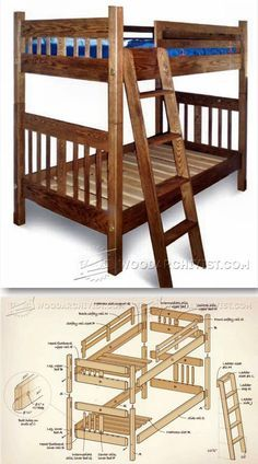 Mission Style Bunk Bed Plans - Children's Furniture Plans and Projects | WoodArchivist.com
