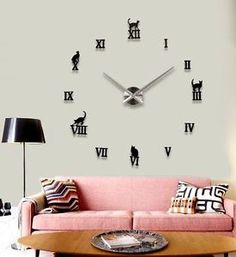 Large 3D Cats DIY Wall Clock Analogue Battery Black Numeral Vinyl Sticker Art  | eBay