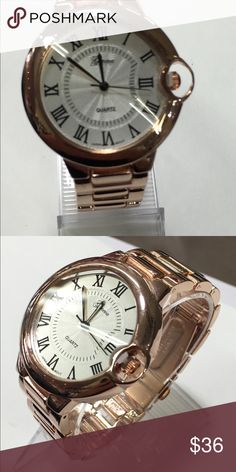 Designer rose gold watch Rose gold with close clasp design. Roman numerals Accessories Watches