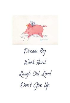 When Pigs Fly  original watercolor print  Dream Big by Jayneart