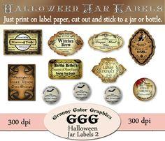 Halloween Jar Labels - Set 2 on Etsy, $3.50