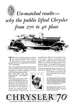 "Chrysler ""70"" Ad (May, 1927): Dash - Illustrated by Fred Cole"