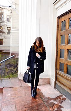 Black coat with gold buttons