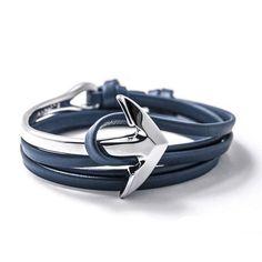 Fashion Jewelry PU Leather Bracelet Men or Women Anchor Bracelets