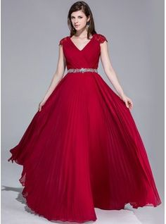 Special Occasion Dresses - $170.99 - A-Line/Princess V-neck Floor-Length Chiffon Lace Evening Dress With Ruffle Beading  http://www.dressfirst.com/A-Line-Princess-V-Neck-Floor-Length-Chiffon-Lace-Evening-Dress-With-Ruffle-Beading-017025540-g25540