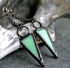 mint green arrow earrings modern dangle earrings by museglass