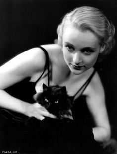 Carole Lombard and black cat