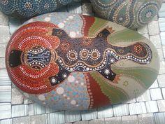 Hand painted stone Aboriginal Dots Platypus by ShePaintsSeaStones