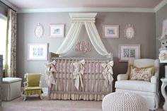 Subtle presence of pastel pink turns the gray room into a gorgeous girls' nursery [Design: Modern Antiquity]