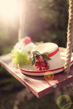 the swing with an awesome cherry hat! Spring Time, Summer Time, Summer Days, Praying For Friends, Red Cottage, My Secret Garden, Summer Breeze, Four Seasons, Red And White