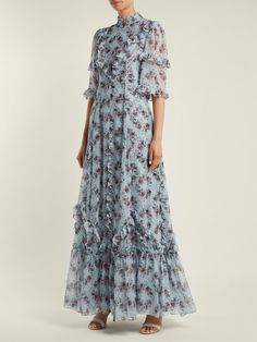 Isidor Keiko-print silk gown | Erdem | MATCHESFASHION.COM UK Silk Evening Gown, Silk Gown, Classy Outfits, Chic Outfits, Pretty Dresses, Beautiful Dresses, Summer Outfits Women, Summer Dresses, Simple Long Dress