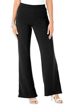 d6e56d9e5c5 Roamans Womens Plus Size Tall Ponte Bootcut Knit Pants Black26 T     Click  on