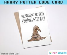 20% OFF MARCH SALE - enter code SAKURA at checkout - ends 31/3/17   #SortingHat  A cute greeting card for your partner inspired by the wise almighty Sorting Hat.  ................................  ✈️ PHYSICAL CARD || Checkout with this listing and you will receive: ✅ Greeting Card - Blank Inside (A6 size 105mmx148 mm/4.13 x 5.83) ✅ Light Brown recycled fleck envelope & Plastic Sleeve ✅ Shipped in a protective hard envelope   ▲ O R ▼    DOWNLOAD FILE HERE: http:/&...