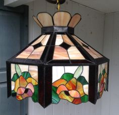 """Tiffany Style Stained Glass Hanging Light Fixture 20"""" x  15"""" Orange Gold Rust and Green Floral Flowers Ceiling Chandelier"""