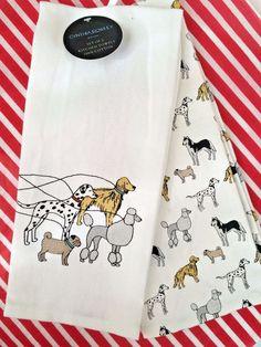 Nice CYNTHIA ROWLEY SET OF 2 KITCHEN TOWELS POODLE DALMATIAN PUG RETRIEVER DOGS  NEWu2026
