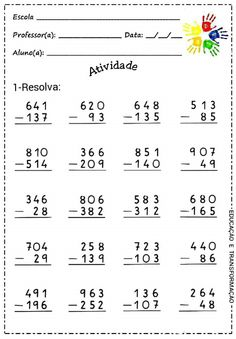 Adição Color Worksheets For Preschool, Math Workbook, Printable Math Worksheets, Subtraction Worksheets, Kindergarten Math Worksheets, Teaching Math, Math Exercises, Math Drills, Math Sheets