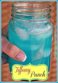 Tiffany Punch - Just 2 Ingredients and tastes like a jolly rancher! Mix one part blue Hawaiian Punch and one part country time yellow lemonade. That's it