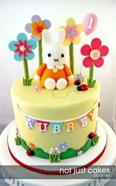 Miffy Cake And Cupcakes For Aubrey Call it sacrilege but i did not know miffy was miffy going into this cake project. i just knew she was. Fondant Cakes, Cupcake Cakes, Cupcakes, Miffy Cake, Little Girl Cakes, Baby Birthday Cakes, Bunny Birthday, Desserts Ostern, Fantasy Cake