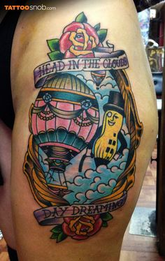 Tattoo by Mikey Sarratt at High Noon Tattoo in Phoenix AZ Air Balloon Tattoo, Hot Air Balloon, High Noon Tattoo, Pug Tattoo, First Tattoo, Body Mods, Cool Tattoos, Tattoo Designs, Balloons