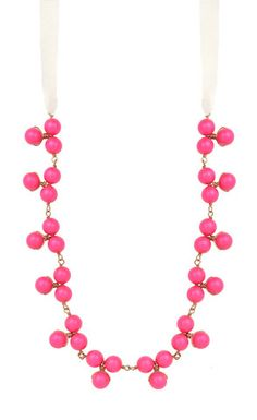 """#1 *FAVORITE* I love everything about this necklace. I like how there's ribbon for the chain, and the cluster of beads. I'd love several versions of this one: black, pink, turquoise, green, orange etc.    This necklace length is between 30 and 36"""""""