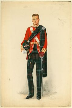 Battalion, Highland Light Infantry, Officer in full dress, 1933 British Army Uniform, British Uniforms, British Soldier, Scottish Clan Tartans, Scottish Clans, Drum Major, British Armed Forces, Reggio, World War I