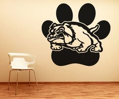 Stickerbrand SportsAnimals Vinyl Wall Art Bulldog w Paw Print Wall Decal Sticker  Multiple Colors Available 36 x 39 Easy to Apply  Removable ** Read more reviews of the product by visiting the link on the image.