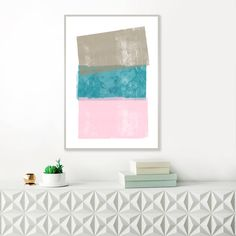 Pink, Taupe and Teal Abstract Art, Minimalist Painting, Modern Acrylic Abstract, Printable Minimal Art, Original Wall Art by InspirationAbstracts on Etsy