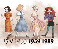 Disney princesses dressed in the fashion of the years their films came out.