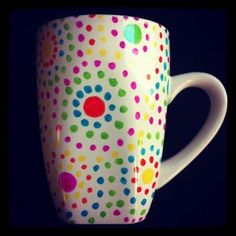 coffee mug - 350 degrees for 30 minutes... use Deco Art paint markers instead of Sharpies.
