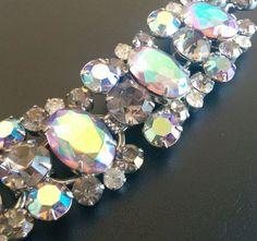 JULIANA Vintage Bracelet AB Aurora Rhinestone Smoke Gray Silver Tone RARE! 4039