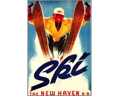 Ski New Haven 1939 The New Haven Railroad Vintage Poster Print Retro Style Travel Vacation Mountain Winter Skiing Free US Post by VintagePosterPrints on Etsy