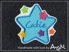 Aufnäher - Aufnäher Stern m. Namen ♥ Applikation Wunschname - ein Designerstück von AnCaNi bei DaWanda