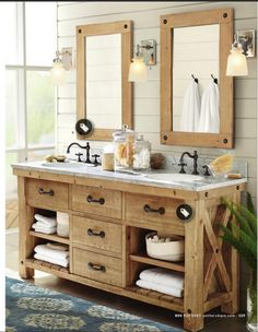 Faded wood bathroom vanity with open shelving (Pottery Barn Spring 2015 catalog)