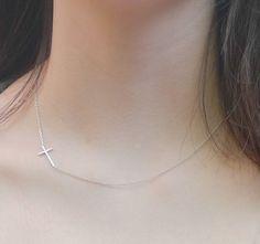 Sideways Cross Necklace  silver Sideways Cross by Jimmyaccessories, $4.50
