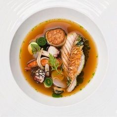 Bouillabaisse with assorted seafood in a sea squirt broth by chef Jungsik Kim of restaurant Jungsik from New York #TheArtOfPlating